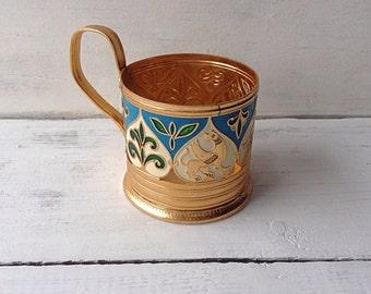 Tea glass holder Vintage metal holder Coffee holder Tea holder Soviet Union Kitchen decor Cup holder Tea serving Gift for tea lover