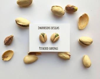 Pistachio Earrings - Studs - Polymer Clay - Jewelry - Handmade - Nuts - Food