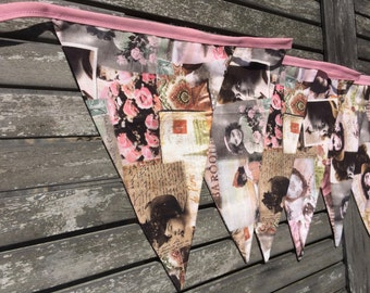fabric bunting, vintage pink bunting, banner flag