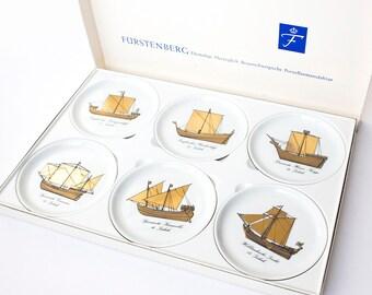 Fürstenberg Porcelain Coasters, German Porcelain boat fleet Coasters, Porcelain Coaster Set, Gold White Coasters, Round Vintage Coasters
