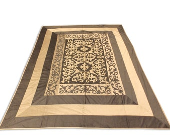 Silk Velvet Mughal Design Double Bed Cover 260x240 CM