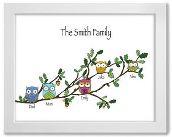 Owl Family Print, Personalised, A3, Framed, Print - Perfect gift