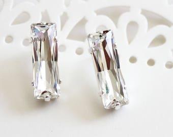Swarovski princess baguette earrings, baguette earring, crystal clear, Swarovski 4547