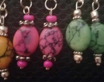 Stone dangle earring various colors