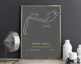 Minimalist Poster F1 Grand Prix of Monaco Monte Carlo Track - French / English - Wall Decor - Home Decor