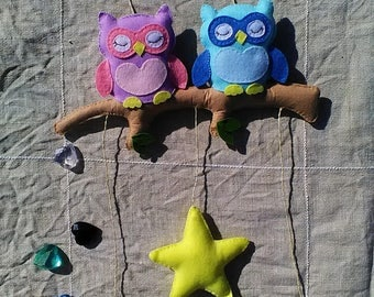 Owls-and-stars Felt Mobile