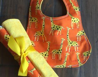 Baby Boy Bib, Baby Girl Bib, Baby Boy Burp Cloth, Baby Girl Burp Cloth, Baby Shower Gift Set, Gender Neutral Set, Baby Giraffe Set.