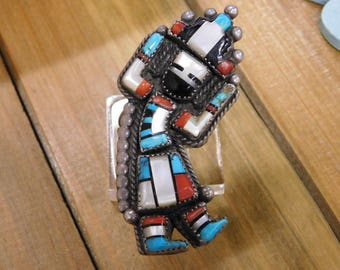 Vintage Multi-color Rainbow Inlay Kachina Sterling Silver Ring Size 11.5