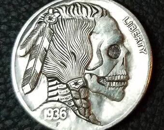 1936 Indian Skull Hobo Nickel - Hand Carved