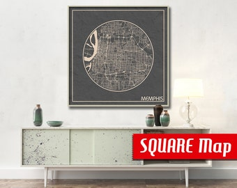 MEMPHIS TN SQUARE Map Memphis Tennessee Poster City Map Memphis Tennessee Art Print Memphis Tennessee poster Memphis map
