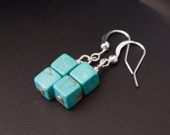 Turquoise Earrings, Turquoise Cube Earrings, Modern Earrings, Turquoise Drops, Boho Earrings Boho Turquoise Earrings, Silver Turquoise Drops