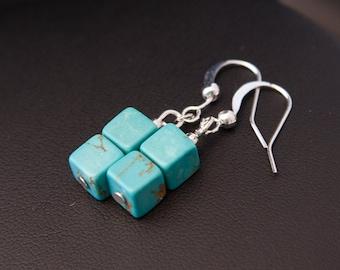 Turquoise Earrings, Turquoise Cube Earrings, Modern Earrings, Turquoise Drops, Boho Earrings Boho Turquoise Earrings, Silver Turquoise Drops