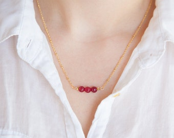 Real Ruby Necklace, Ruby Birthstone Necklace, Genuine Ruby Jewelry, Ruby Necklace for Her, July Birthstone, Real Ruby Birthstone Jewelry