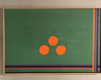 37W X 2 1/2 D X 25L signed Herman Kahan Painting of Lines and Oranges