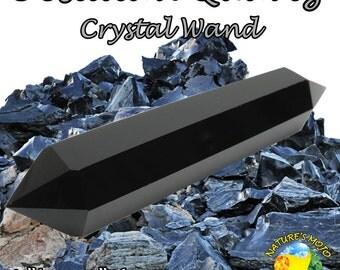 Obsidian Quartz Crystal Wand
