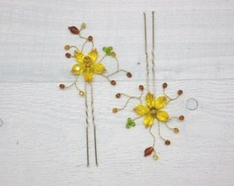 Gold bridal hair Gold wedding hair Gold hair pins Flower hair pins Gold wedding pin Bridal bobby pins Gold bobby pins Gold hair comb Gold