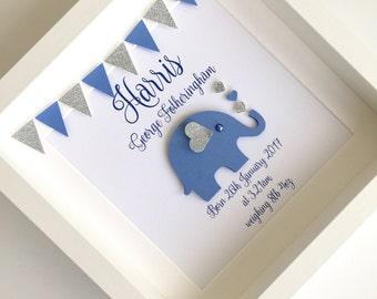 New baby frame, new baby gift, personalised baby gift, elephant frame, christening gift, nursery art, baby boy gift, nursery decor,