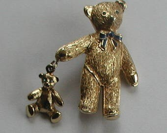Vintage Gold Tones Teddy Bear Brooch Vintage Teddy Pin
