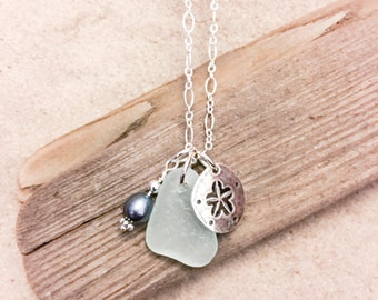 Sea Glass Blue Sea Foam Sterling Silver Necklace Sand Dollar Pearl Charm