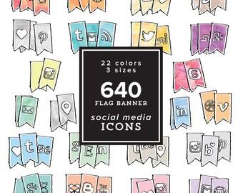 HUGE Social Media Icons Pack - 640 png files - Flag Banner set - Pastel,Watercolor,Gold & Silver Foil 22 colors 3 sizes INSTANT DOWNLOAD