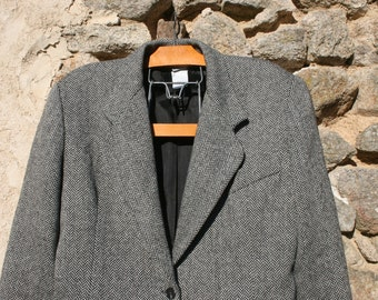 Tweed Tailored Jacket Black and White