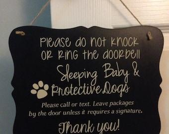 Sleeping Baby protective dogs door sign/ baby sleeping door sign/ Door Hanger/Protective Dogs/baby sleeping sign