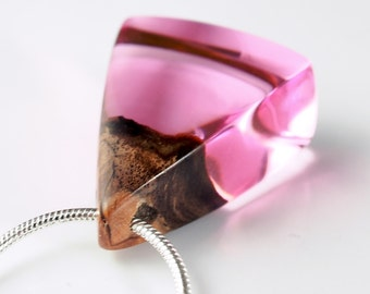 Purple Resin and Wood Pendant; Wood and Resin Jewelry, Wood and Resin Pendant, Resin Jewelry