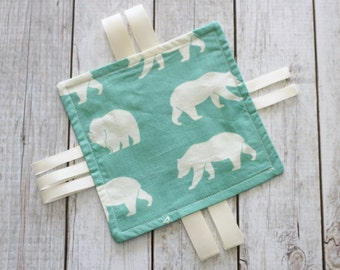 Organic Polar Bear Sensory Toy; Crinkle Toy; Organic Cotton Baby Toy