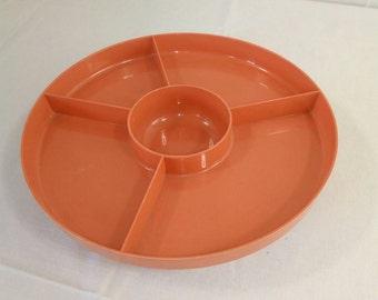 Vintage-plastic-celluloid-pink-divided-turning-platter-server