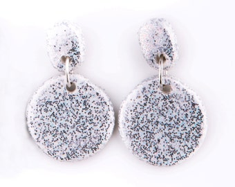 Earrings Classic Drops Polymer Clay Sparkle and Shine White