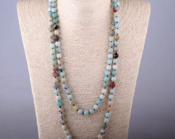 Long knotted Blue Green Amazonite Stone Necklace - Healing Necklace
