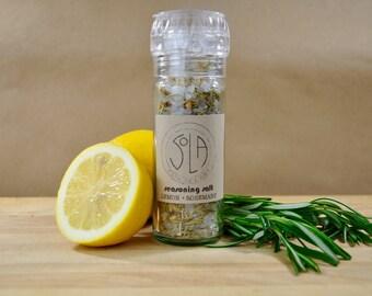 Organic Seasoning Salt: Lemon, Rosemary, and Sea Salt Grinder
