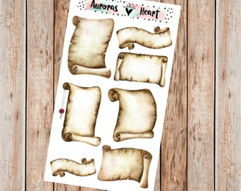 Vintage parchment scroll planner stickers