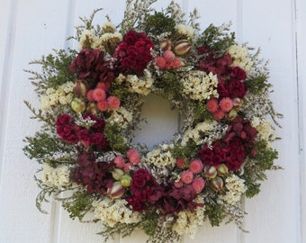Dried Flower Wreath, German Statice Wreath, Green, Pink and Burgundy Wreath, Dried Floral Wreath, Hydrangea Wreath, Burgundy Dried Wreath