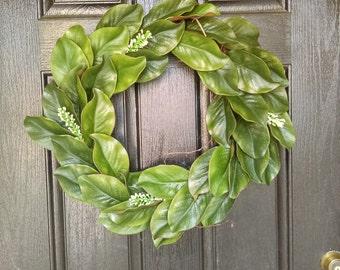 Farmhouse Decor | Farmhouse Wreath | Farmhouse Wall Decor | Magnolia Wreath | Spring Wreath | Magnolia Leaves