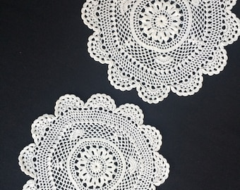 A Pair of White Round  Vintage Crocheted Lace Doilies.  RBT1300