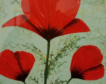 Poppy painting modern wall art original acrylic framed painting poppies