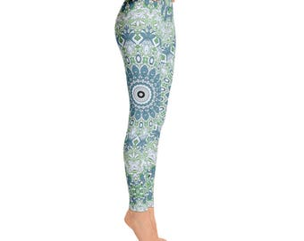 Printed Leggings Blue and Green Mandala Yoga Pants - Womens Stretchy Yoga Leggings, Fashion Leggings