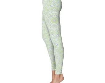 Spring Yoga Pants Mid Rise Waist - Cute Summer Printed Leggings, Yoga Leggings Womens Pattern Tights