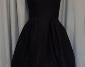 Vintage Early 60s Little Black Dress w/ Baby Pink Bow