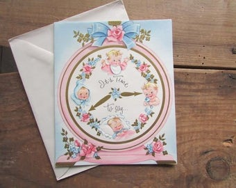 Embossed Baby Congratulations Card Vintage Kitschy Baby Shower Card