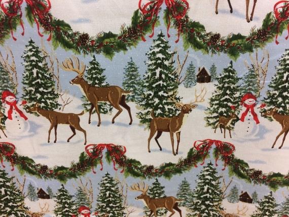 Reindeer Snowy Christmas Winter Scene Fabric Christmas