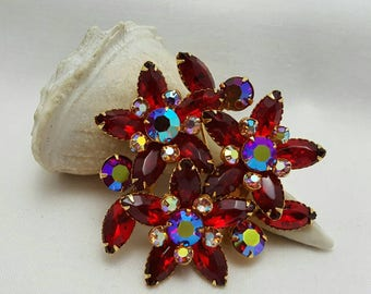 Red Rhinestone Flower Pin