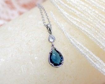 Blue b necklace Blue mother necklace Simple stone necklace Blue stone Blue bezel necklace Blue bride necklace