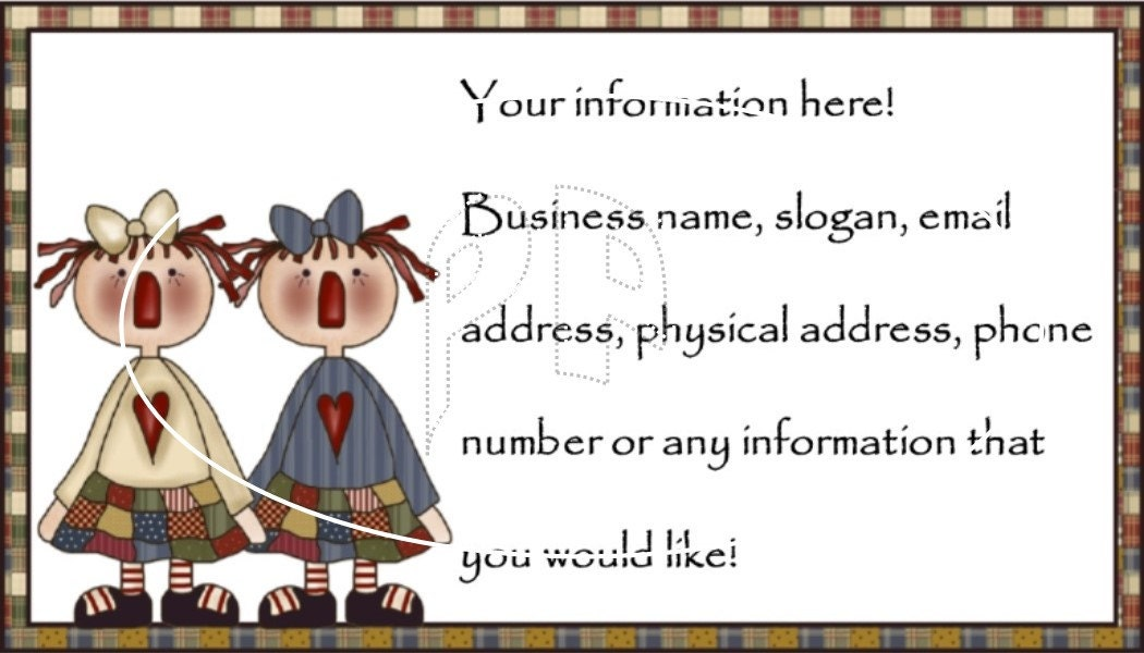 Annies with check border Customized U print Business Cards PDF and ...