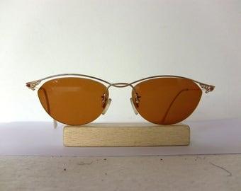 flair eyeglasses sunglasses gold wire frame rhinestone modern 90s elegant germany free shipping nos new old stock rx
