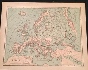 1875 Physical Map of Europe, Original Antique Map, Harper's School Geography
