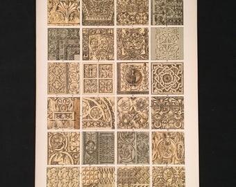 Byzantine (architecture) No. 1 - Original Owen Jones Print, Grammar of Ornament, Vibrant Color Lithograph, Vintage Decor