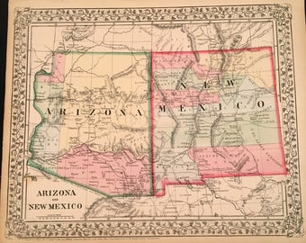 1870 Map of Arizona & New Mexico, Original Antique Map, Hand-Colored Map Mitchell, Map for Framing