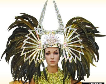 Feather Headdress - Star Banda  - Feather Samba Headdress, Showgirl Headdress, Vegas Headdress, Federkopfschmuck, Coiffe Plume
